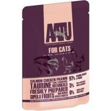 AATU паучи для кошек с лососем, курицей и креветками, AATU FOR CATS SALMON, CHICKEN & PRAWN, 85 гр