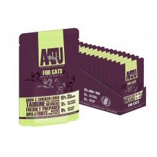 AATU паучи для кошек с уткой и куриной печенью, AATU FOR CATS DUCK & CHICKEN LIVER, 85 гр
