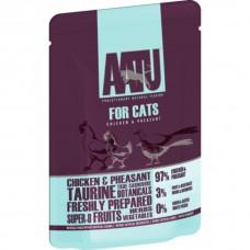 AATU паучи для кошек с курицей и перепелом, AATU FOR CATS CHICKEN & QUAIL, 85 гр