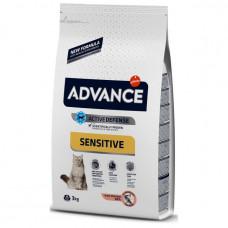Корм Advance Adult Salmon Sensitive для кошек с чувствительным пищеварением, лосось/рис