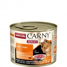 Корм Animonda Carny Adult для кошек, говядина/курица/утка, банка, 200 г