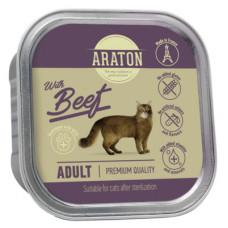 Корм Araton для взрослых кошек, безглютеновый, говядина, ламистер, 85 г