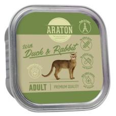 Корм Araton для взрослых кошек, безглютеновый, утка/кролик, ламистер, 85 г