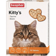 Витамины Beaphar (сердечки) Kitty's Taurine + Biotin для кошек с таурином и биотином, 75 шт.