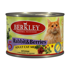 Корм Berkley для кошек, №5, кролик/лесные ягоды, банка, 200 г