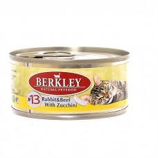 Корм Berkley для кошек, №13, кролик/говядина/цуккини, банка, 100 г