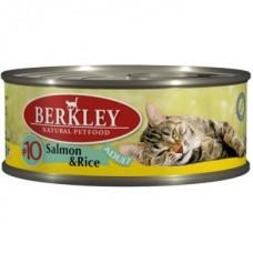 Корм Berkley Adult Salmon&Rice для кошек, №10, лосось/рис, банка, 100 г