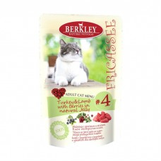 Корм Berkley для взрослых кошек, №4, фрикасе с индейкой и ягненком, пауч, 100 г
