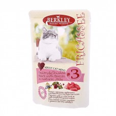 Корм Berkley для взрослых кошек, №3, фрикасе с птицей и куриными сердечками, пауч, 100 г