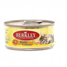 Корм Berkley для кошек, №12, говядина/оленина, банка, 100 г