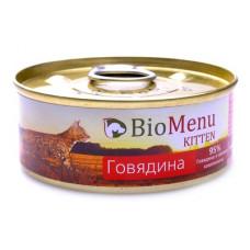 Корм BioMenu для котят, говядина, паштет, банка, 100 г