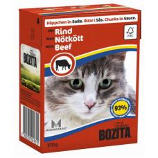 Корм Bozita in Sauce with Beef для кошек, говядина, кусочки в соусе, tetra pak, 370 г