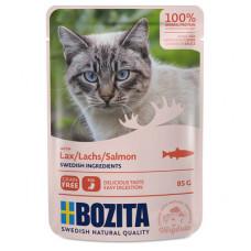Корм Bozita для кошек, лосось, кусочки в соусе, пауч, 85 г