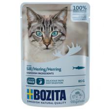 Корм Bozita для кошек, сельдь, кусочки в соусе, пауч, 85 г