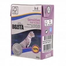 Корм Bozita Sensitive Hair&Skin для кожи и шерсти кошек, лосось, кусочки в желе, tetra pak, 190 г