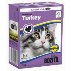 Корм Bozita in Jelly with Minced Turkey для кошек, рубленая индейка, кусочки в желе, tetra pak, 370 г
