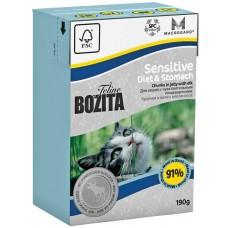 Корм Bozita Sensitive Diet&Stomach для чувствительных кошек, лось, кусочки в желе, tetra pak, 190 г