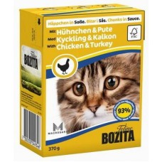 Корм Bozita in Sauce with Chicken&Turkey для кошек, курица/индейка, кусочки в соусе, tetra pak, 370 г