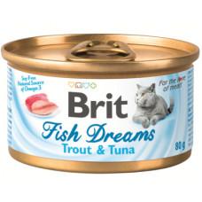 Корм Brit Fish Dreams Trout & Tuna для кошек, форель/тунец, банка, 80 г