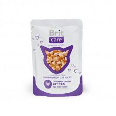 Корм Brit Care Chicken&Cheese Kitten для котят, курица/сыр, пауч, 80 г