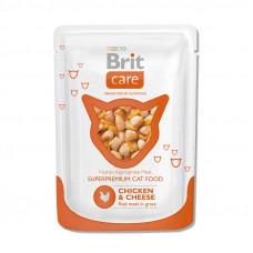 Корм Brit Care Chicken&Cheese для взрослых кошек, курица/сыр, пауч, 80 г
