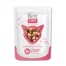 Корм Brit Care Chicken&Duck для взрослых кошек, курица/утка, пауч, 80 г