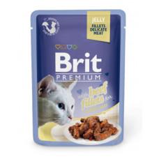 Корм Brit Premium Jelly Beef Fillets для кошек, филе говядины, кусочки в желе, пауч, 85 г