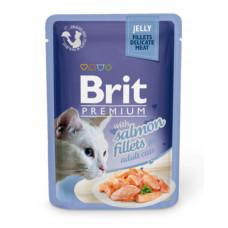 Корм Brit Premium Jelly Salmon Fillets для кошек, филе лосося, кусочки в желе, пауч, 85 г