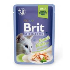 Корм Brit Premium Jelly Trout Fillets для кошек, филе форели, кусочки в желе, пауч, 85 г