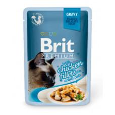 Корм Brit Premium Gravy Chiсken Fillets для кошек, куриное филе, кусочки в соусе, пауч, 85 г