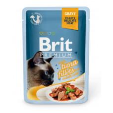 Корм Brit Premium Gravy Tuna Fillets для кошек, филе тунца, кусочки в соусе, пауч, 85 г