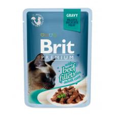 Корм Brit Premium Gravy Beef Fillets для кошек, филе говядины, кусочки в соусе, пауч, 85 г