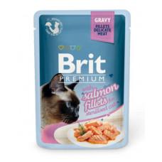 Корм Brit Premium Gravy Salmon Fillets For Sterilised для стерилизованных кошек, филе лосося, кусочки в соусе, пауч, 85 г