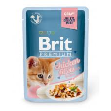 Корм Brit Premium Gravy Chiсken Fillets для котят, куриное филе, кусочки в соусе, пауч, 85 г