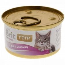 Корм Brit Tuna&Salmon для кошек, тунец/лосось, банка, 80 г