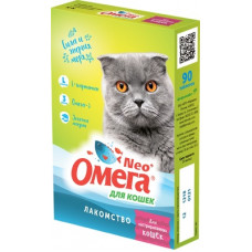 Мультивитаминное лакомство Омега Neo для кастрированных кошек, L-карнитин, 90 таблеток