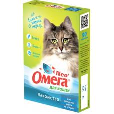 """Мультивитаминное лакомство Омега Neo """"Вывод шерсти"""" для кошек, ржаной солод, 90 таблеток"""