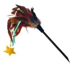 Дразнилка для кошек со звёздочкой, натуральные некрашеные перья