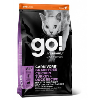 Корм GO! Carnivore GF Chicken, Turkey + Duck Recipe CF 46/18 для котят и кошек, 4 вида мяса, беззерновой, курица/индейка/утка/лосось