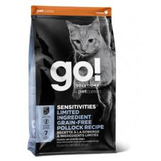 Корм GO! Sensitivities Limited Ingredient Grain FreePollock Recipe CF 30/15 для котят и кошек с чувствительным пищеварением, беззерновой, минтай, 7.26 кг