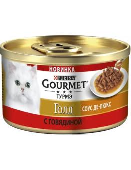 Корм Gourmet Gold для кошек, соус Де-Люкс, курица, банка, 85 г