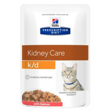Корм Hills Prescription Diet k/d Kidney Care при заболевании почек, диетический, лосось, пауч, 85 г