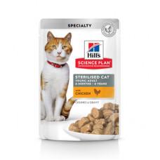 Корм Hills Science Plan Sterilised Cat для стерилизованных кошек и кастрированных котов, курица, в соусе, пауч, 85 г