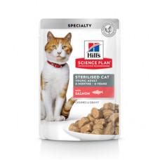 Корм Hills Science Plan Sterilised Cat для стерилизованных кошек и кастрированных котов, лосось, в соусе, пауч, 85 г
