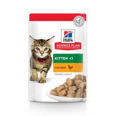 Корм Hills Science Plan Kitten для котят до 12 месяцев, курица, в соусе, пауч, 85 г