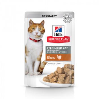 Корм Hills Science Plan Sterilised Cat для стерилизованных кошек и кастрированных котов, индейка, в соусе, пауч, 85 г