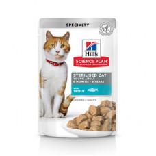 Корм Hills Science Plan Sterilised Cat для стерилизованных кошек и кастрированных котов, форель, в соусе, пауч, 85 г