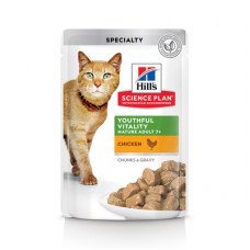 Корм Hills Science Plan Youthful Vitality для пожилых кошек (7+), поддержания активности и жизненной энергии, курица, в соусе, пауч, 85 г