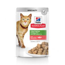 Корм Hills Science Plan Youthful Vitality для пожилых кошек (7+), поддержания активности и жизненной энергии, лосось, в соусе, пауч, 85 г