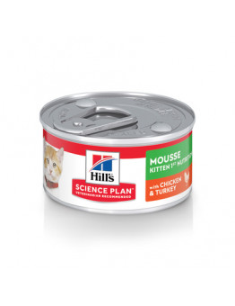 Корм Hills Science Plan Kitten для котят до 12 месяцев, курица/индейка, мусс, банка, 82 г